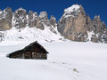 Hut in the mountains italy dolomite alps Stock Photos
