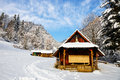 Hut in the mountains small winter landscape Royalty Free Stock Images