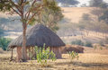 Hut in rajasthan small with thatched roof the small village desert india Stock Image