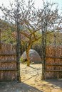 Hut seen from the fence Swazi tribe Royalty Free Stock Photo