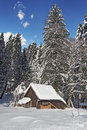 Hut in snow Royalty Free Stock Photography