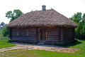 A hut with a thatched roof. Royalty Free Stock Photo