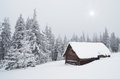 Hut in the woods winter landscape with a forest ukraine carpathian mountains Royalty Free Stock Photos