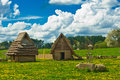 Huts reconstruction of old historic Stock Image