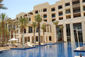 Huts swimming pool luxury hotel saadiyat island abu dhabi uae Stock Photo