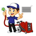 Hvac Cleaner or technician cleaning air duct Royalty Free Stock Photo