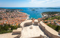 Hvar city and harbor from the Spanish Fortress Royalty Free Stock Photo