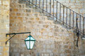Hvar detail old street lamp and stairs in popular touristic destination in croatia Royalty Free Stock Photography