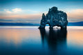 Hvitserkur is a spectacular rock in the sea on the northern coast of iceland legends say it is a petrified troll on this photo Stock Image