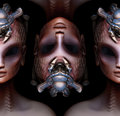 Hybrid alien woman queen pattern strange concept Royalty Free Stock Photo