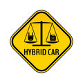 Hybrid car caution sticker. Save energy automobile warning sign. Electric plug and fuel canister icon.