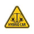 Hybrid car caution sticker. Save energy automobile warning sign. Electric plug and fuel canister icon in yellow triangle