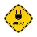 Hybrid car caution sticker. Save energy automobile warning sign. Electric plug icon in yellow and black rhombus.