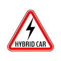 Hybrid car caution sticker. Save energy automobile warning sign. Lightning icon in red triangle to a vehicle glass.