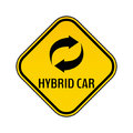 Hybrid car caution sticker. Save energy automobile warning sign. Recycle icon in yellow and black rhombus.