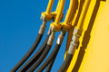 Hydaulic hoses up close view of hydraulic of an excavator machine Royalty Free Stock Photo