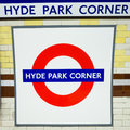 Hyde Park Corner tube station sign - London Underground roundel Royalty Free Stock Photo