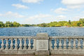 Hyde park london england a view from bridge overlooking a small lake at Stock Image