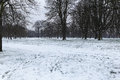 Hyde park snow in london Stock Photos