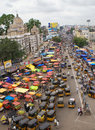 Hyderabad bird view from char minar on the streets of city Royalty Free Stock Photo