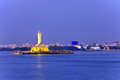 Hyderabad india monolithic statue of the gautam buddha in the middle of the lake hussain sagar Royalty Free Stock Photography