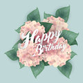 Hydrangea with Happy Birthday lettering