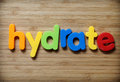 Hydrate concept in toy letters Stock Image