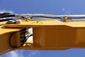 Hydraulic arm closeup of the lifting on a large excavator Stock Photos