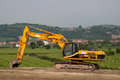 Hydraulic crawler excavator Stock Photo