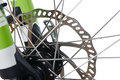 Hydraulic disk brake rotor of mtb closeup mountain bike isolated on white Royalty Free Stock Photo
