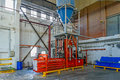 Hydraulic press for briquetting of paper waste Stock Photo