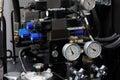 Hydraulic system of cnc machine Royalty Free Stock Photo