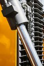 Hydraulic system of tractor or excavator. Details and parts Royalty Free Stock Photo