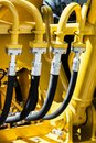 Hydraulic system of tractor or excavator Royalty Free Stock Photo