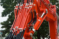 Hydraulics hydraulic hoses and tubes on large machinery Royalty Free Stock Photo