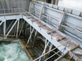 Hydro dam control weir with underneath discharge Royalty Free Stock Photo