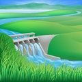 Hydro dam water power energy illustration of a hydroelectric generating and electricity Stock Image