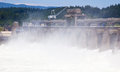 Hydroelectric dam on a river Royalty Free Stock Photo