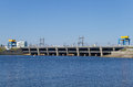 Hydroelectric dam on sunny day Stock Photo