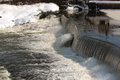 Hydroelectric dam in the winter Royalty Free Stock Photography