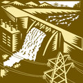 Hydroelectric hydro energy dam woodcut illustration of a generation with pylons and buildings done in style Stock Images