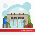 Hydroelectric power station in a flat style. Royalty Free Stock Photo