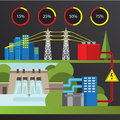 Hydroelectric power station. Trendy infographics set. All types of power plants. Royalty Free Stock Photo