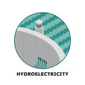 Hydroelectricity renewable energy sources part isometric illustration of a power plant works in small size Stock Photo
