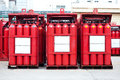 Hydrogen tank cylinders a red Stock Photo