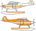 Hydroplane floating plane vector simple Royalty Free Stock Images