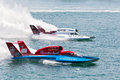 Hydroplane racing detroit july kip brown and mike webster race for position at the apba gold cup july on the detroit river in Stock Photos
