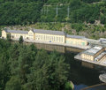 Hydropower plant in thuringia sunny illuminated aerial view of a a Stock Photography