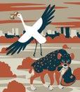 Hyena and stork
