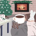 Hygge card with person near the hearth in warm sweater and socks. Enjoy moment with mug and hot drink. Royalty Free Stock Photo
